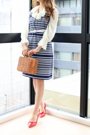 【vintage】red piping stripe dress