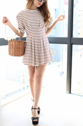 stripe flare dress / red pattern