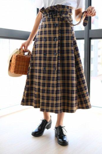 button design check pattern skirt (belt set)