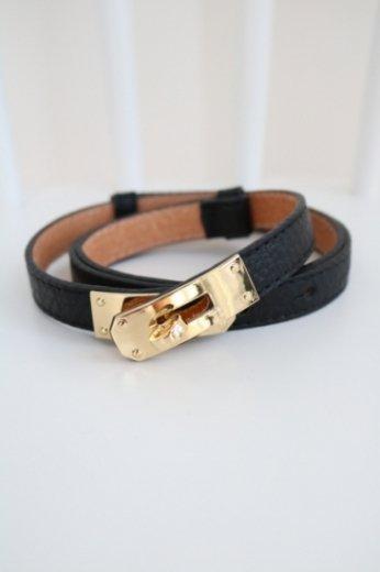 real leather turn lock belt / black