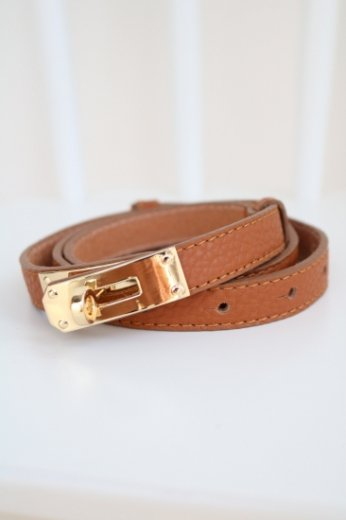 real leather turn lock belt / brown