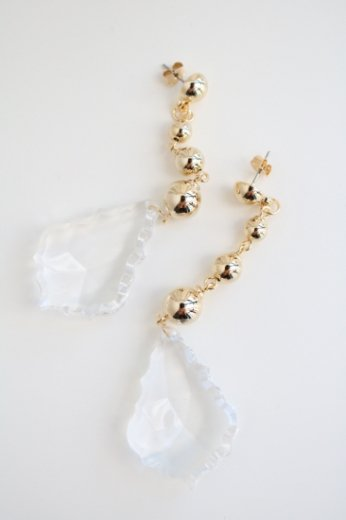 crystal swing earrings / gold