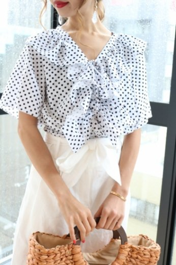 frill collar front ribbon dot pattern tops