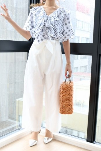 waist ribbon wide pants / white