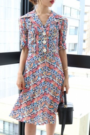 【vintage】open collar flower pattern dress