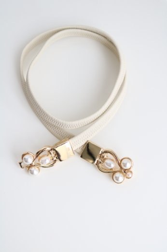 8 pearl waist belt / white
