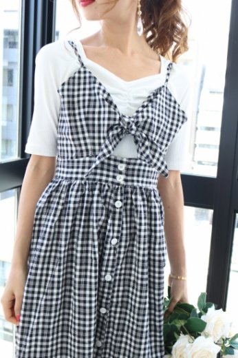 front ribbon check pattern dress