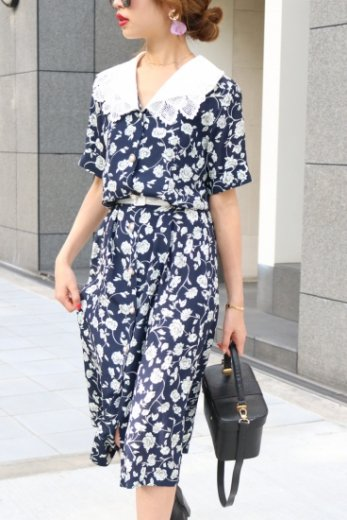 2way lace collar flower pattern dress / navy