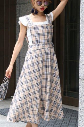check pattern  flare jumper skirt