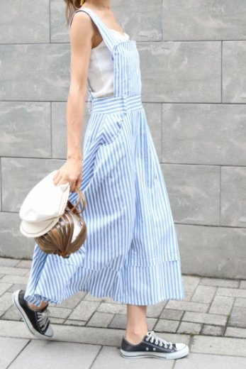 stripe flare jumper skirt