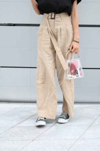 linen wide pants(belt set)