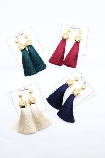 swing color tassel pierced earrings / green・red navy・white
