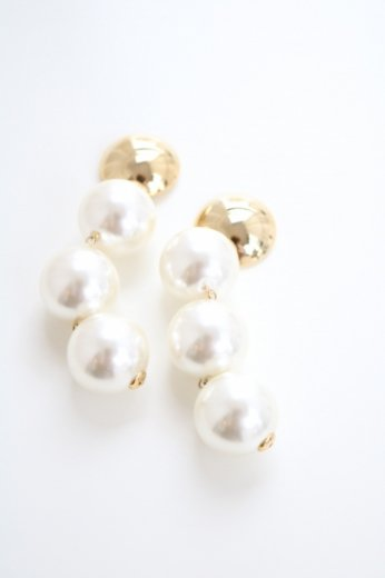 triple big pearl pierced earrings