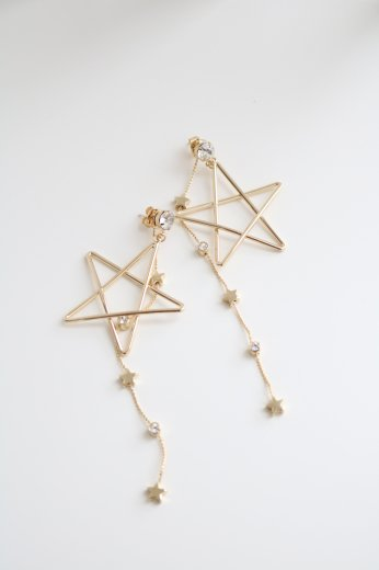3way starlike swing chain earrings