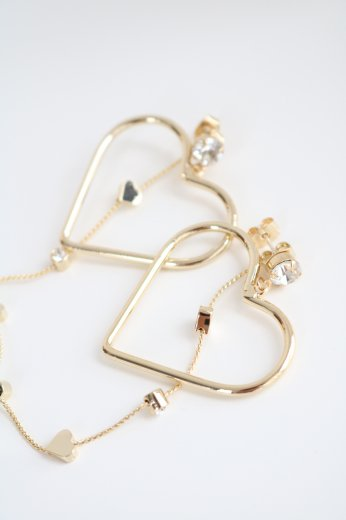 3way heartlike swing chain earrings