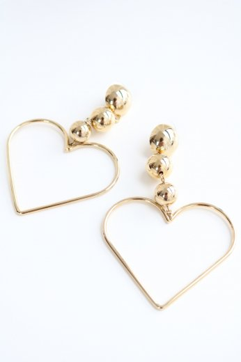 gold heart swing earrings