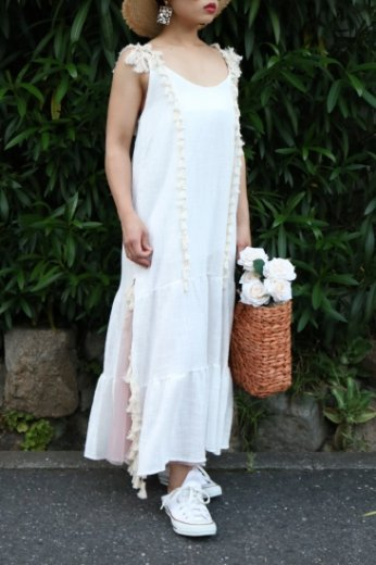 tassel flare dress / white