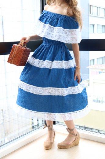 【vintage】mule tin collar off shoulder docking lace pleats dress