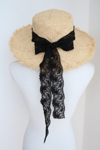 black lace straw hat