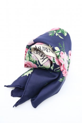 【vintage】Yves Saint Laurent /  flower pattern silk scarf / navy