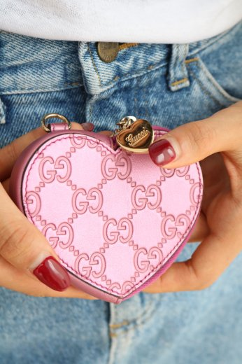 【vintage】GUCCI / heart motif leather coin case / pink
