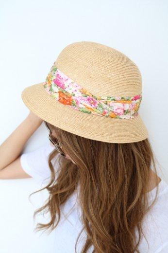 【vintage】KENZO / flower pattern ribbon straw hat
