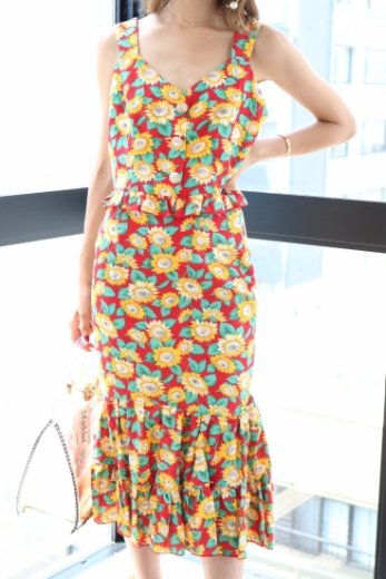 3way all sunflower pattern bustier & skirt set up