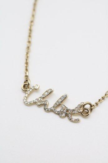 【vintage】Chloé / logo rhinestone necklace / gold