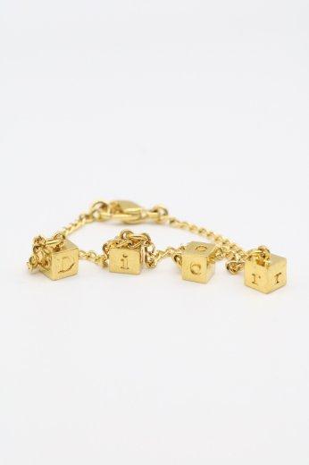 【vintage】Christian Dior / dice motif bracelet / gold