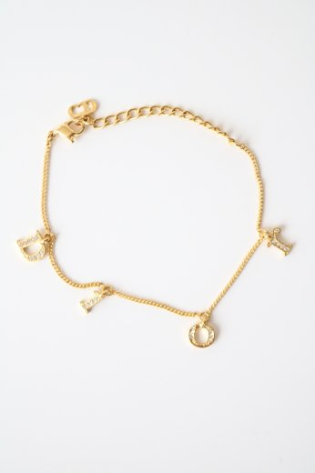 【vintage】Christian Dior / logo rhinestone swing bracelet / gold