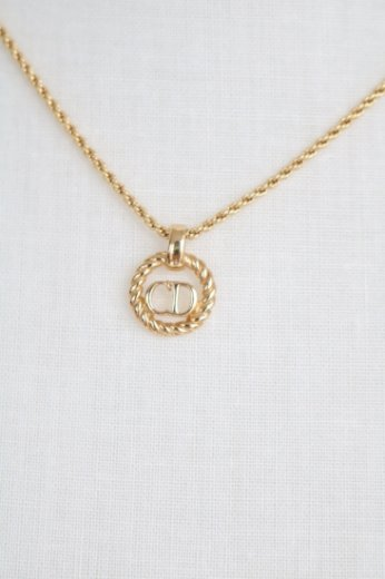 【vintage】Christian Dior / circle logo pendant necklace / gold