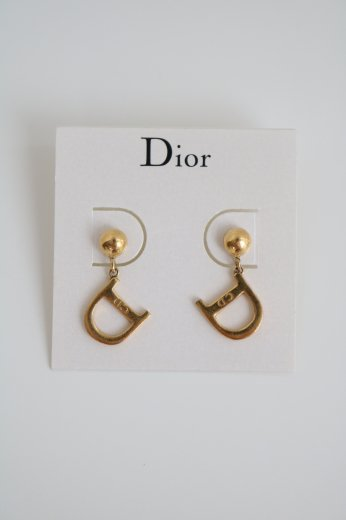 【vintage】Christian Dior / logo mark earrings / gold