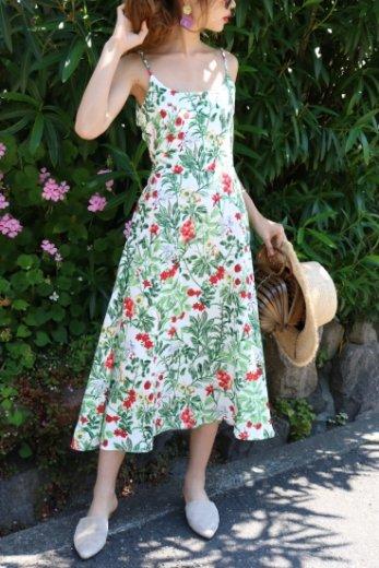 flower pattern back ribbon dress / white