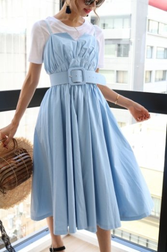 camisole flare cotton dress(belt set) / light blue
