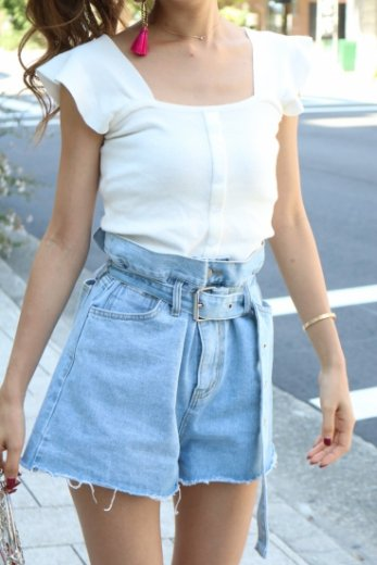 make gather flare short denim pants(belt set) / blue