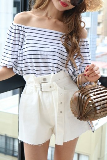 make gather flare short denim pants(belt set) / white