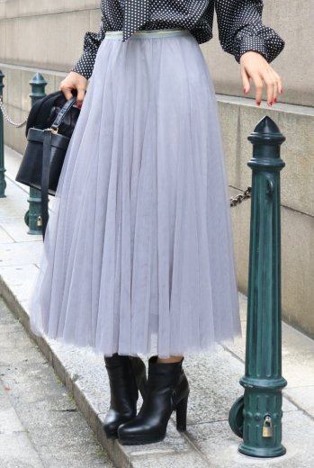 color tulle skirt / gray