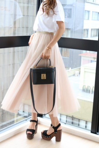 color tulle skirt / beige