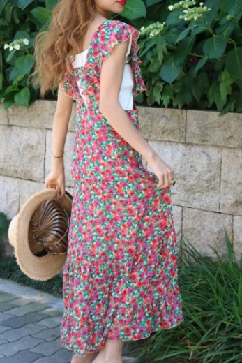 flower pattern sleeveless flare dress