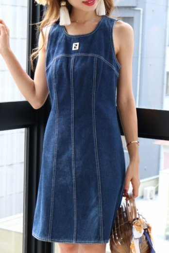 【vintage】FENDI / front logo plate sleeveless denim dress