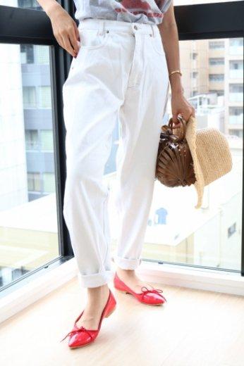 【vintage】 color denim pants / white