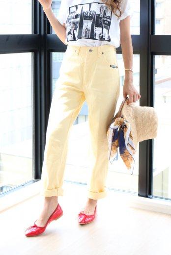 【vintage】back button design western denim pants / pastel yellow