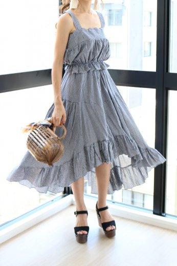 gingham check pattern tops&skirt set up / blue