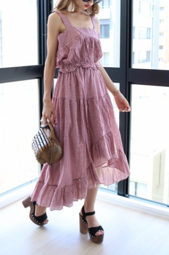 gingham check pattern tops&skirt set up / red