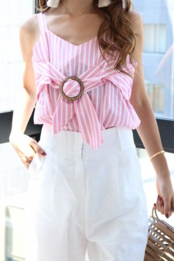 front ribbon stripe sleeveless tops / pink