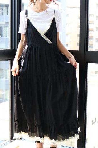 shoulder strap lace piping long flare dress / black