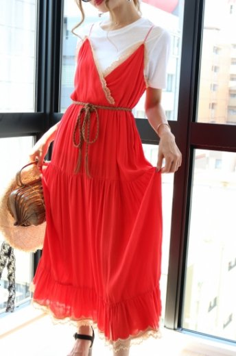 shoulder strap lace piping long flare dress / orange
