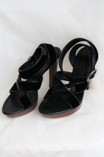 【vintage】Yves Saint Laurent / velour platform high heel sandals / black