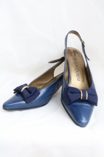 【vintage】Yves Saint Laurent / ribbon  low heel leather pumps / navy