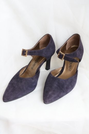 【vintage】Yves Saint Laurent / ankle strap suede pumps / purple